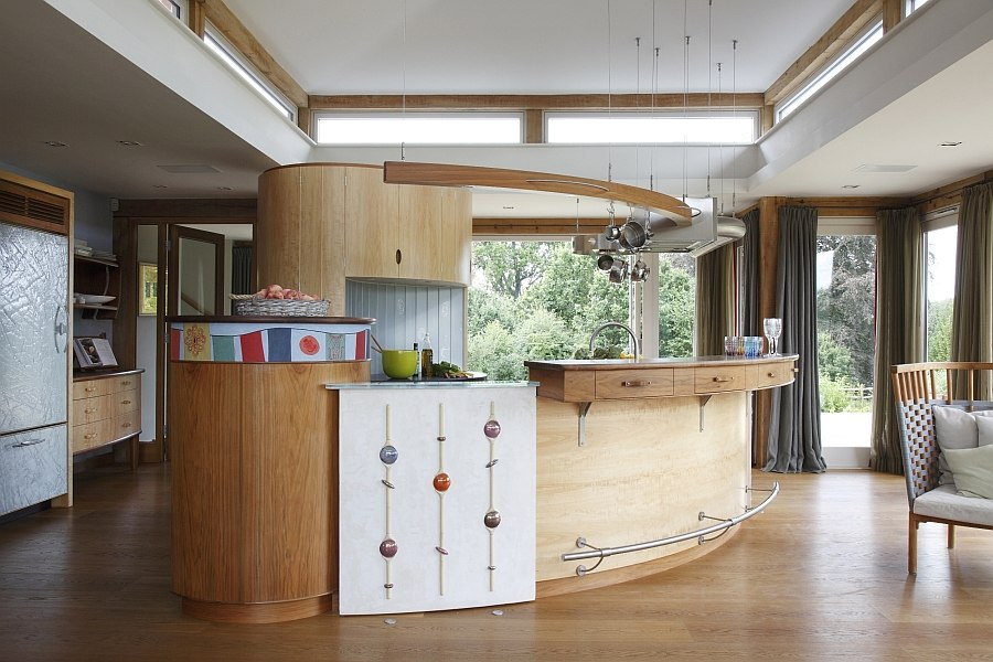 Custom-crafted curved kitchen island