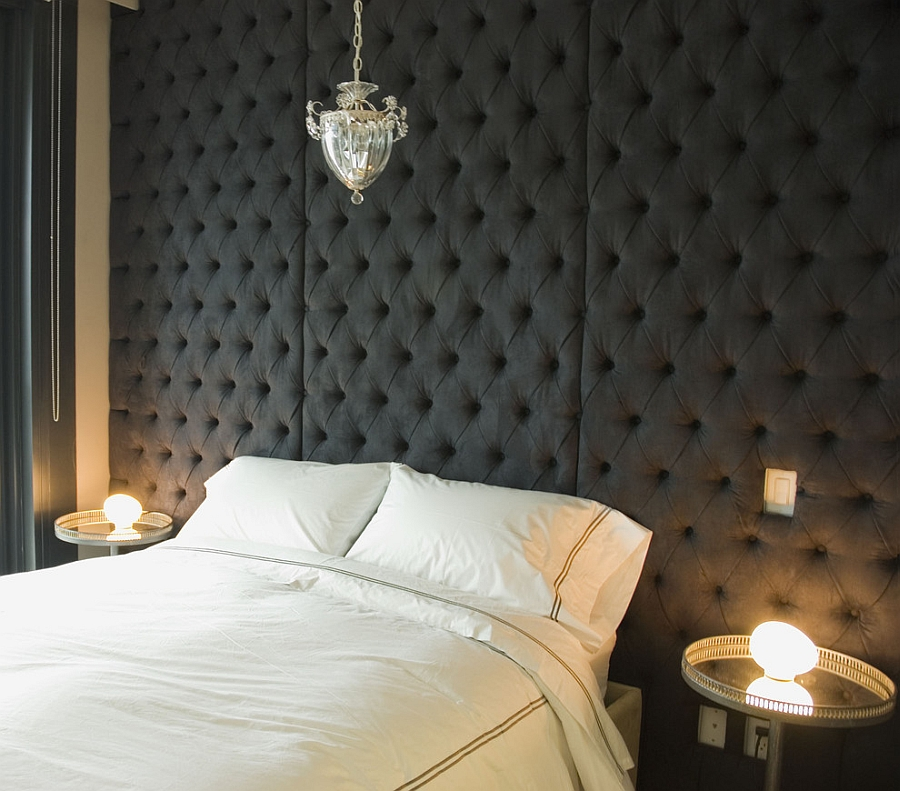 Custom diamond tufted headboard wall in the contemporary bedroom [Design: aBecker Design]