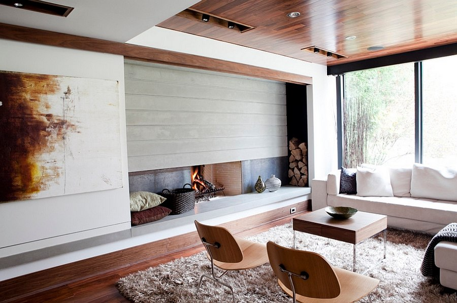 Modern Living Room Fireplace Design The Artful Woodpile: 30 Fabulous  Firewood Storage Ideas!