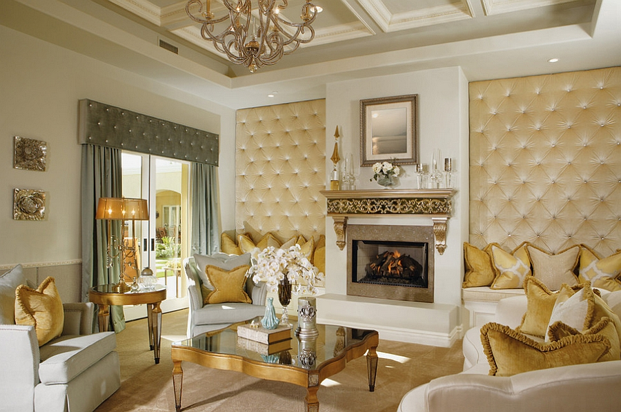 Custom upholstered panels add textural beauty to the living room [Design: Guided Home Design]