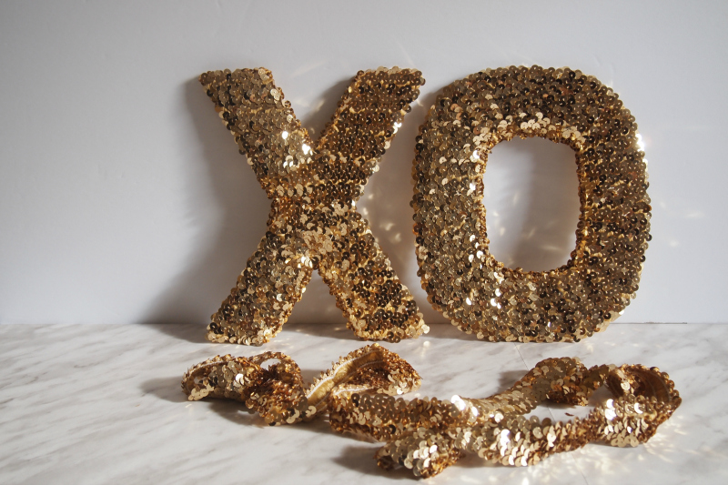 DIY XO sequinned letters finished look