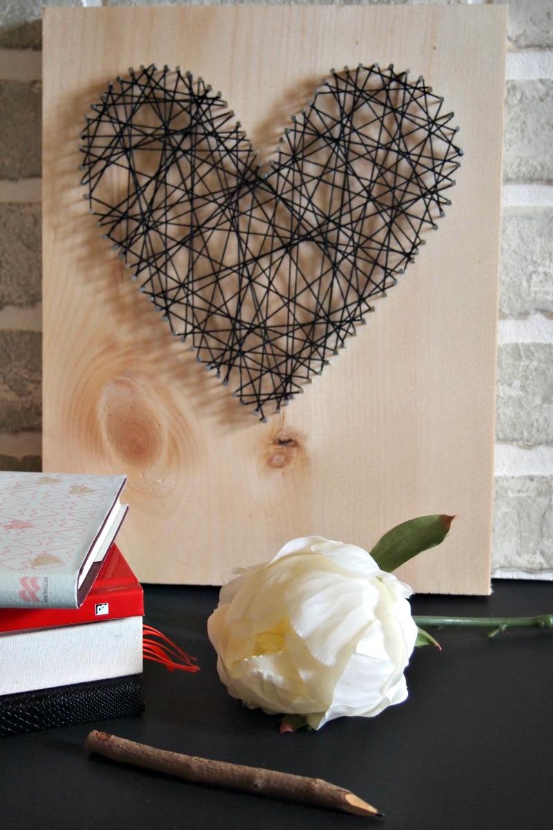DIY heart string artwork