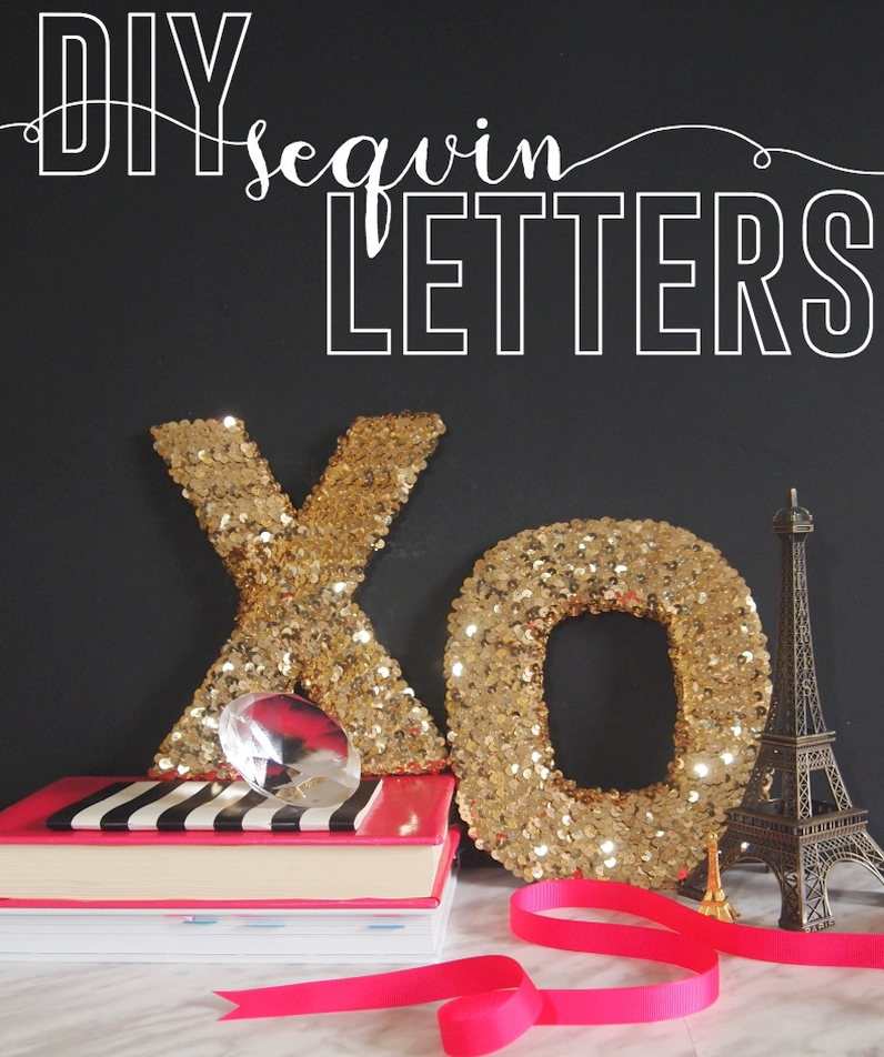 DIY sequin letters XO with golden charm