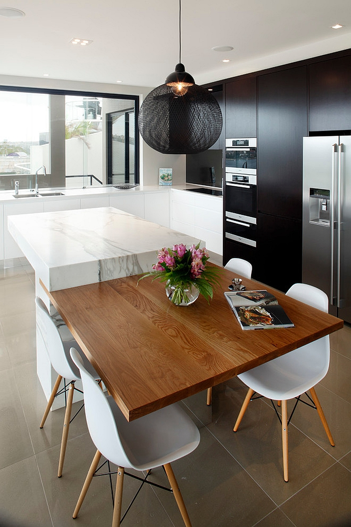 Dark Non Random Light adds texture and sculptural style to the kitchen [Design: Art of Kitchens]