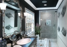 Dark ceiling gives the narrow bathroom a cozy, refined ambiance