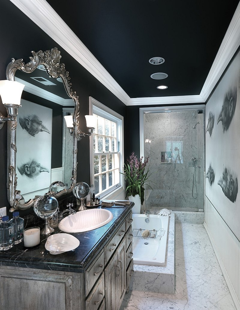 Dark ceiling gives the narrow bathroom a cozy, refined ambiance [Design: Philip Nimmo Design]