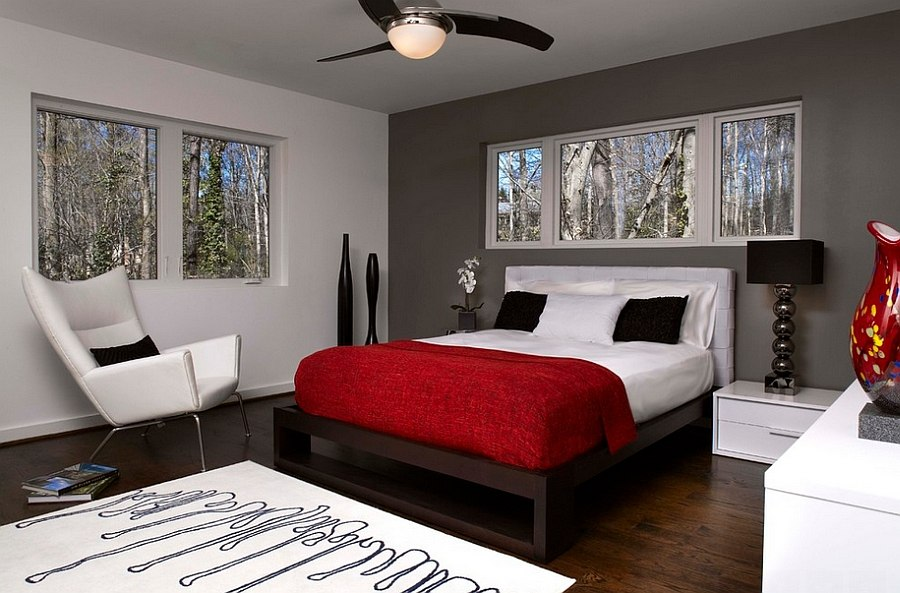 Gray with Red Accent Wall Bedroom 900 x 593