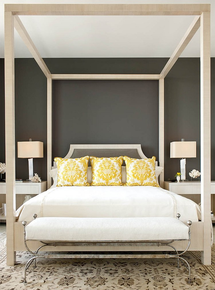 Cheerful sophistication 25 elegant gray and yellow bedrooms for Dark grey furniture paint