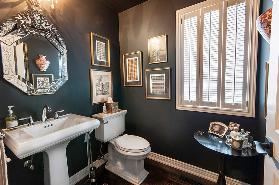Darker shades of gray give the bathroom a moody, elegant look