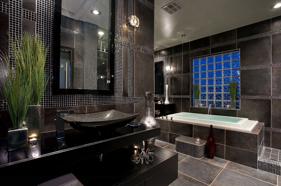 Darker tones of gray complement black beautifully in the contemporary bath [Design: Chris Jovanelly Interior Design]
