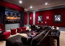 Dashing tufted wall panels in red for the elegant home theater