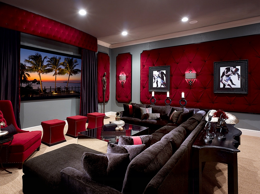 Dashing tufted wall panels in red for the elegant home theater [Design: Roman Interior Design]