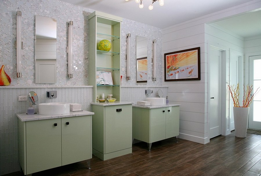 Dazzling wall tile and light green steal the show in this relaxing master bathroom [Design: Topnotch Design Studio]