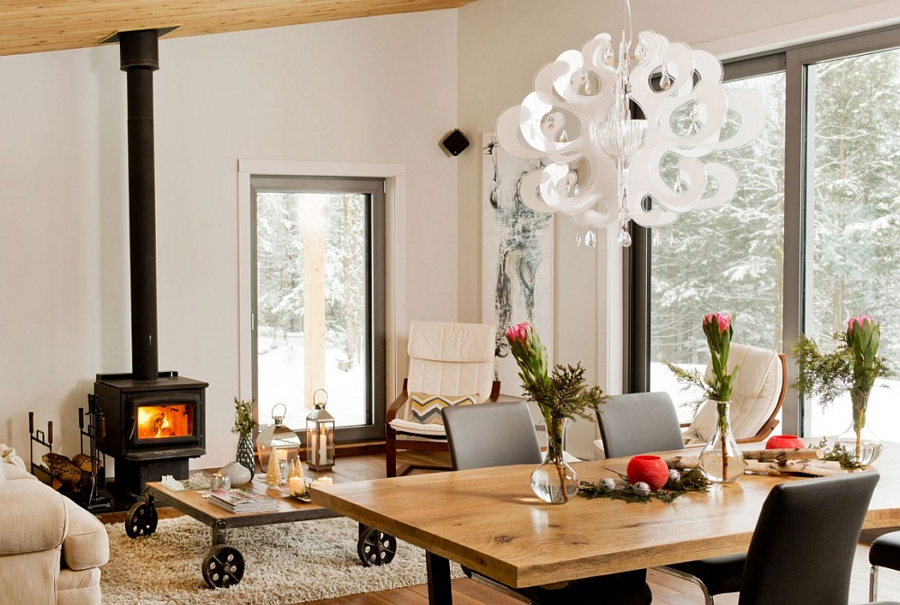Decor inside the chalet combines the rustic and the modern