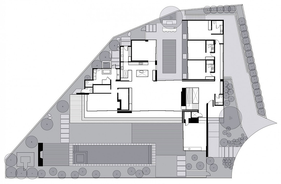 Design plan of the Southern Californian style Luxury Home in Laguna Beach
