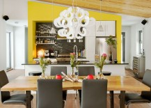 Dining room chairs bring a touch of modernity to the room