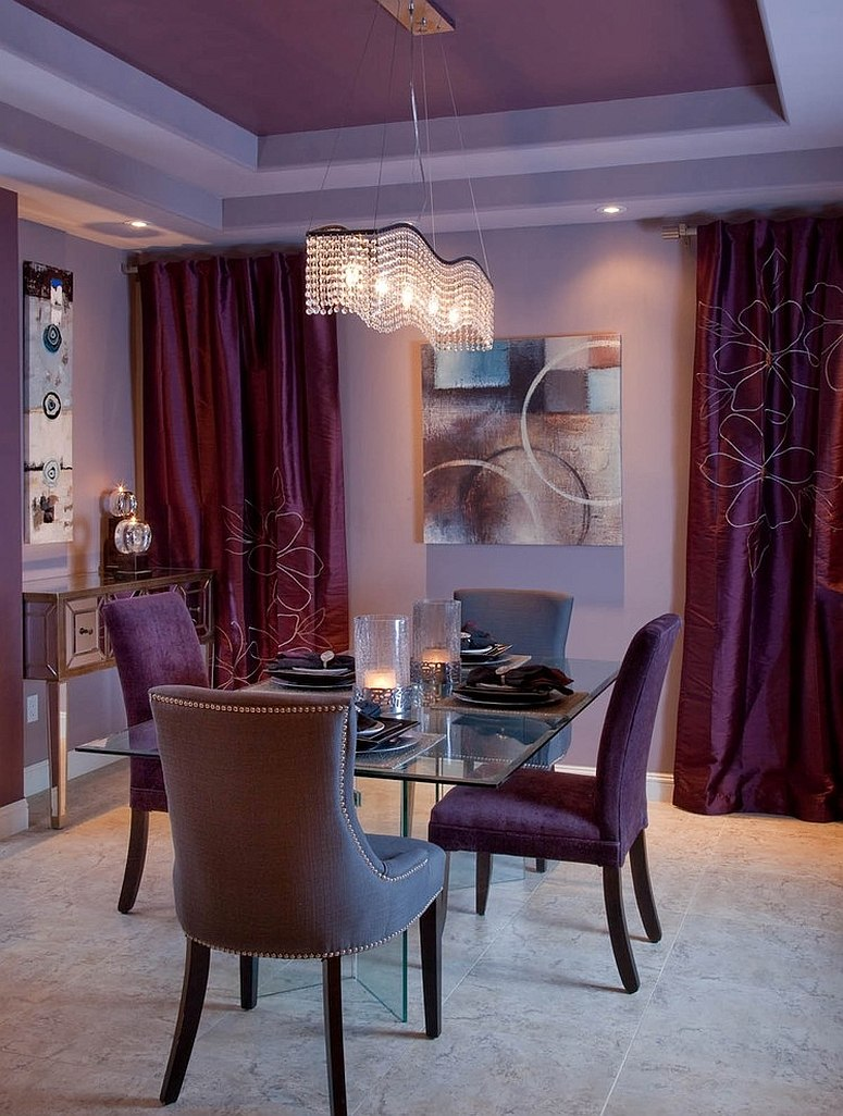 Drapes and ceiling in purple bring an air of luxury to the room