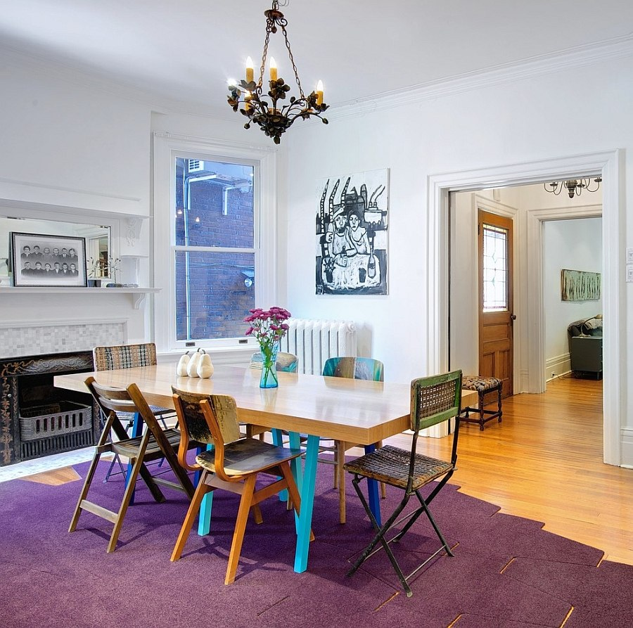Elegant and uncomplicated way of adding purple to the dining room [Design: Post Architecture / Andrew Snow Photography]