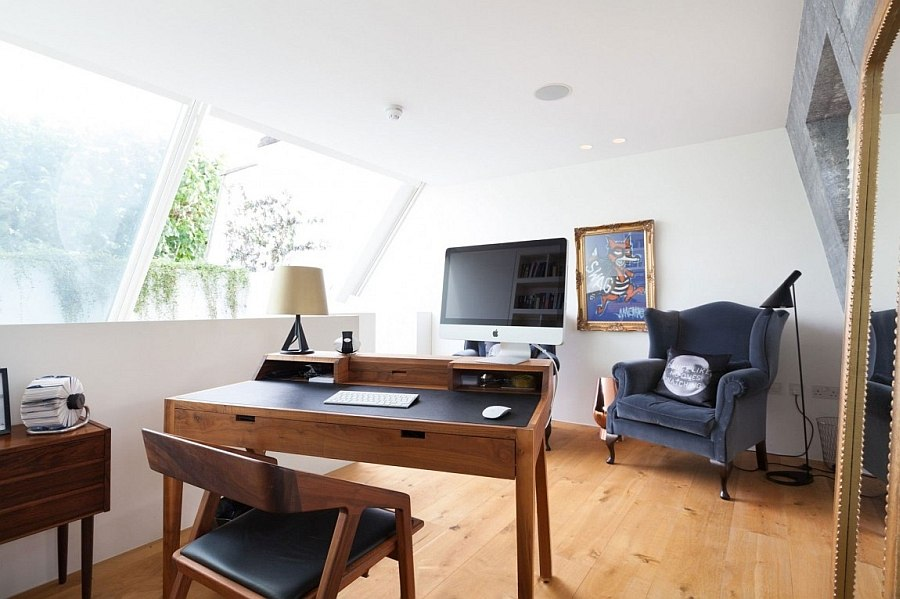 Elegant home office on the mezzanine level of the house