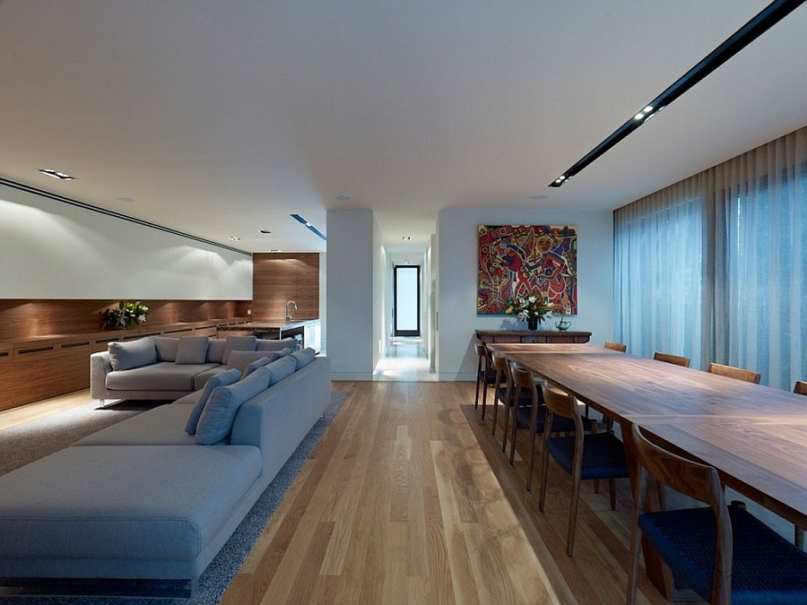 Elegant open plan living area of the Melbourne home with minimalist style