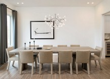 Elegant pendant adds beauty and contrast to the contemporary dining room