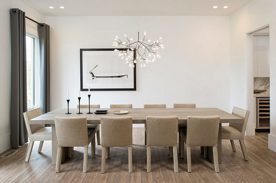Elegant pendant adds beauty and contrast to the contemporary dining room from maxine schnitzer