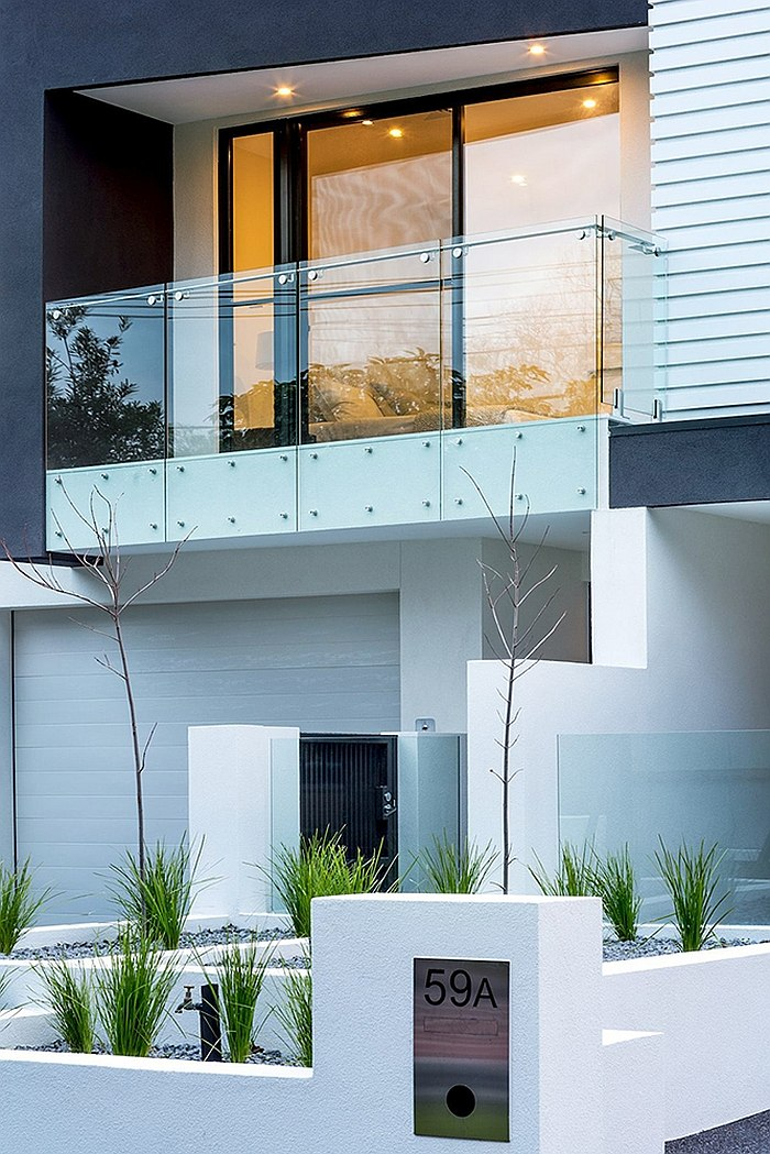 Elegant street facade of the revamped Melbourne home offers ample privacy