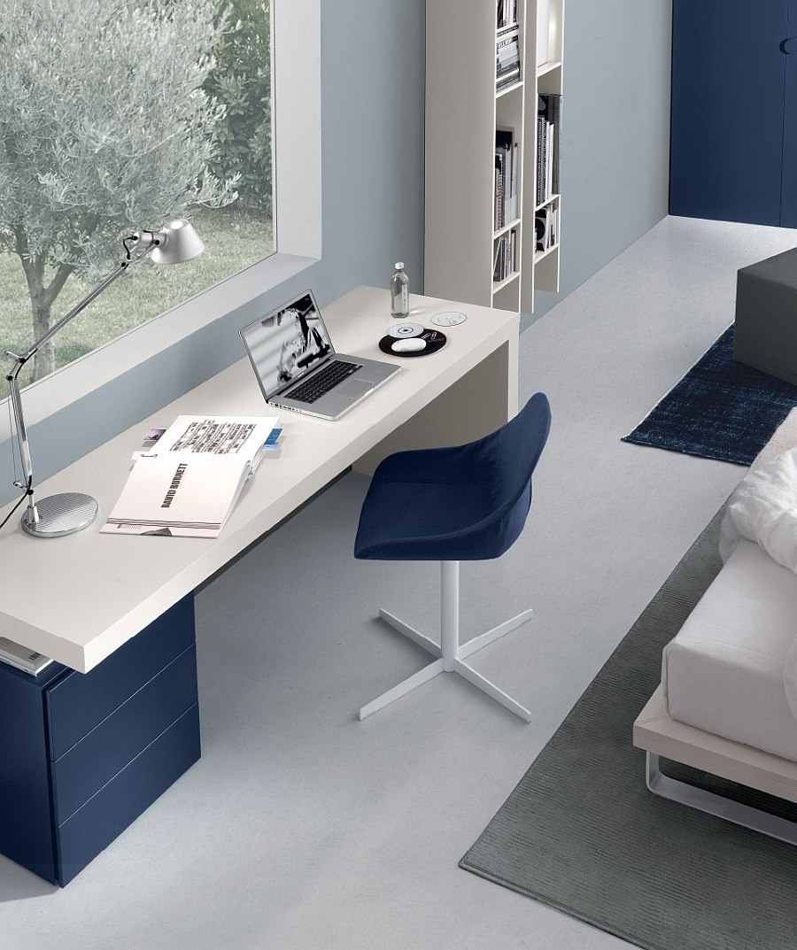 Elegant use of Stage to shape a bedroom workspace