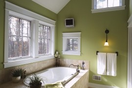 Elegant use of green inside the traditional bathroom