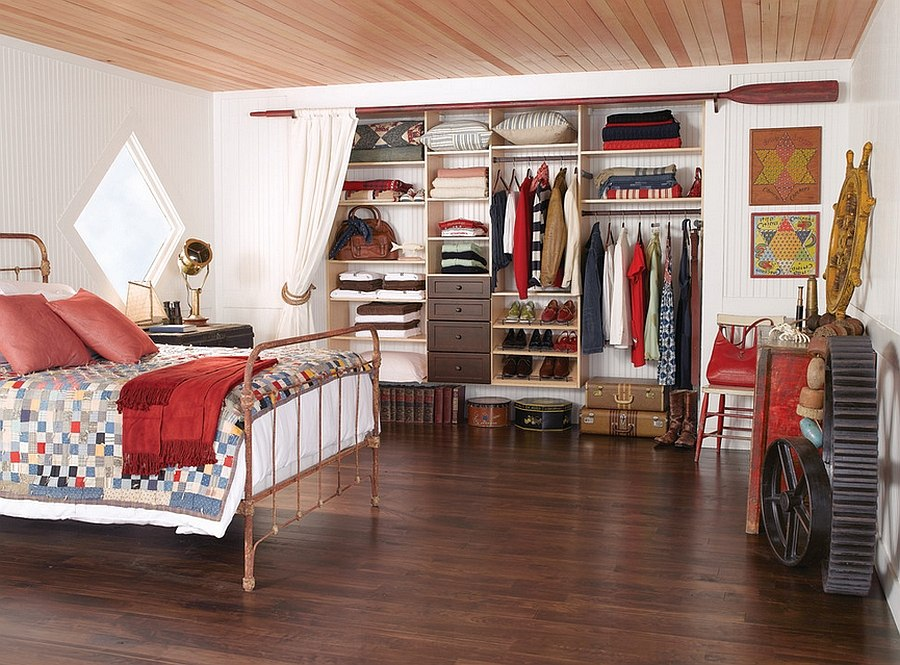 elegantly organized bedroom with a rustic flavor design california closets