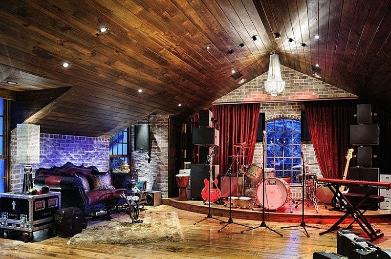 11 Dazzling Home Stages That Steal the Spotlight on small recording studio design, small room designs cool music, small music studio ideas, small space living,