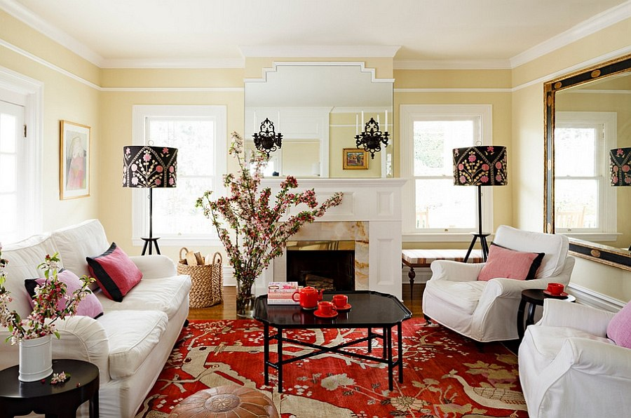 Exclusive tripod lamps with colorful lampshades [Design: Jessica Helgerson Interior Design]