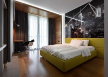 Exquisite bedroom with an exciting bed in yellow