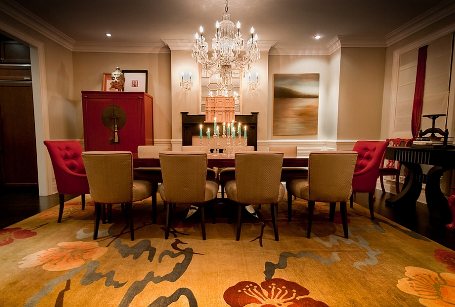 Exquisite dining room in gold and red [Design: Lucid Interior Design]