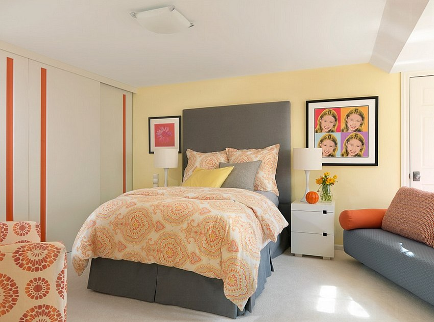 exquisite use of gray yellow and orange in the bedroom design