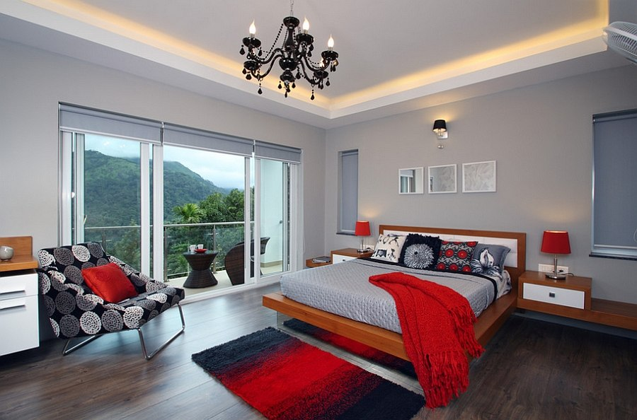 Exquisite use of red accents in the cheerful gray bedroom [Design: Savio & Rupa Interior Concepts]