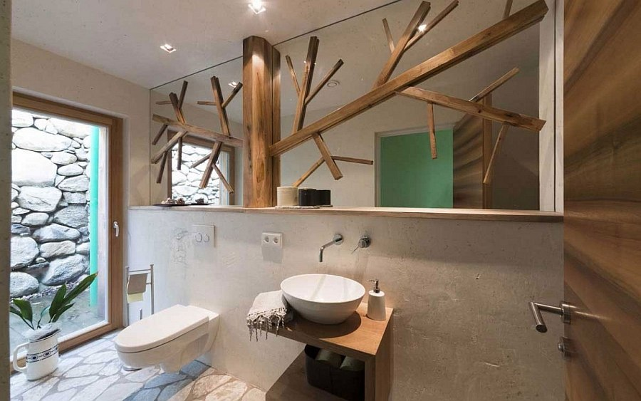 Exquisite use of wood inside the master bathroom