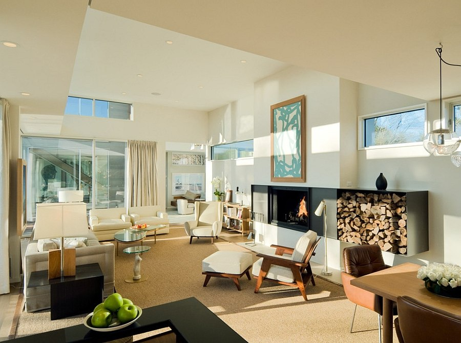 Extended fireplace design creates space for the firewood