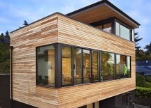 Exterior of the Cycle House in Seattle draped in wood