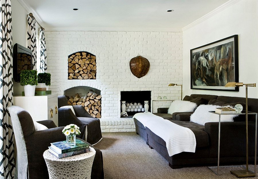 Fabulous contemporary living room brings together a wide range of textures [Design: Melanie Turner Interiors]