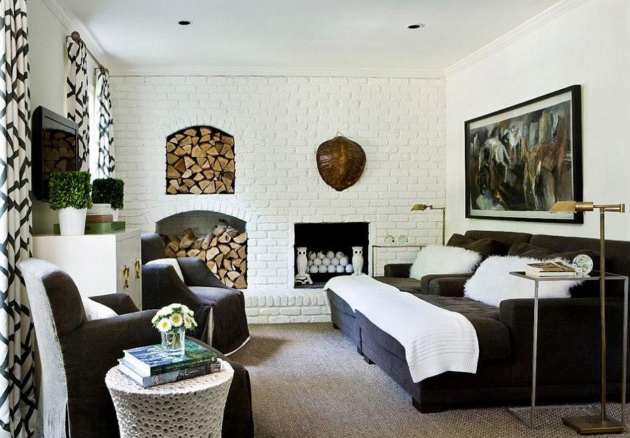 fabulous modern orange living room | The Artful Woodpile: 30 Fabulous Firewood Storage Ideas!