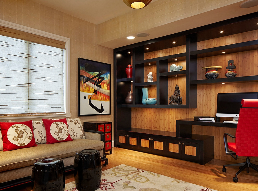 Fabulous home office also doubles as a meditation space [Design: Arnold Schulman Design Group]