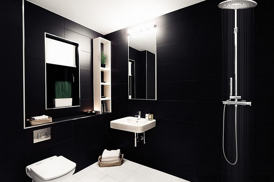 Fabulous modern minimalist bathroom in black [Design: OB Architecture / Martin Gardner Photography]