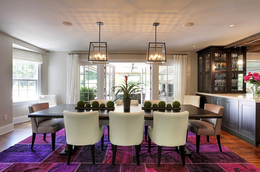 rug in multiple shades of purple steals the show in this dining room