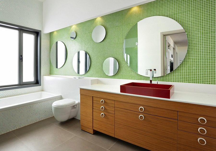 Fabulous use of green tile in the contemporary bathroom 20 Refreshing Bathrooms with a Splash of Green