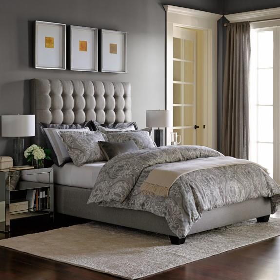 Fairfax Tall Bed & Headboard Grey