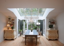 Farmhouse dining room with brilliant visual symmetry