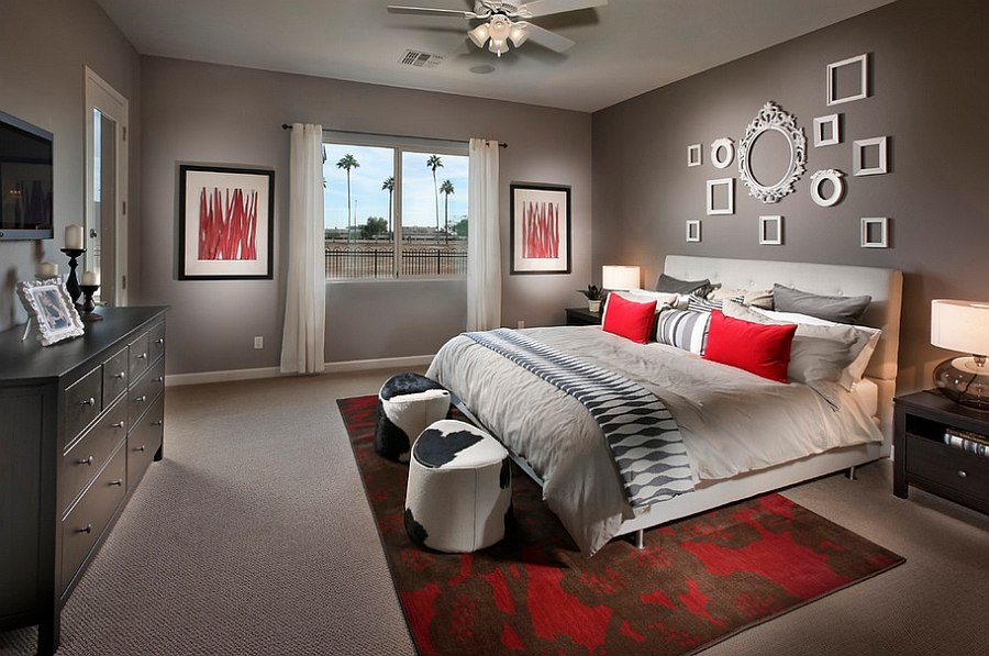 Polished passion 19 dashing bedrooms in red and gray for Red and black themed living room