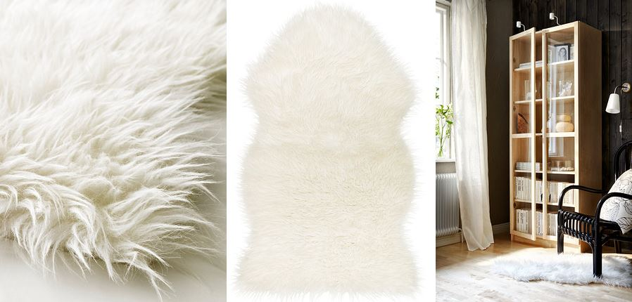 Faux sheepskin throw from IKEA