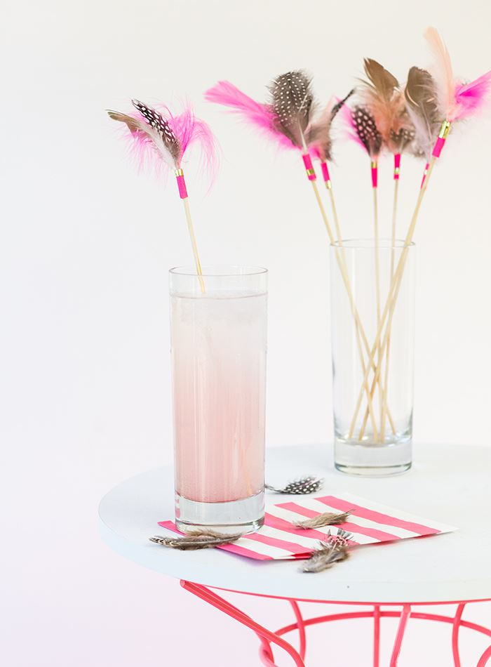 Feather drink stirrers from Studio DIY for Palm Springs Style